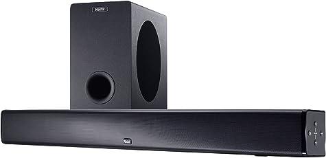 Magnat SBW 250 | Heimkino-Soundbar mit Wireless-Subwoofer | Stereo-Zweiwegesysteme, Bluetooth-Speaker, HDMI & aptX-Support - Schwarz