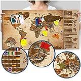 murando - Rubbelweltkarte deutsch Pinnwand - 90x45 cm - Vintage - Weltneuheit: Weltkarte zum Rubbeln - Laminiert (beschreib- & abwischbar) - Rubbelkarte mit Fahnen/ Nationalflaggen - Inkl. 50 Markierfähnchen/ Pinnnadeln k-A-0251-o-c