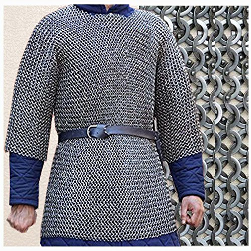 NASIR ALI Round Riveted with Warser Chainmail Shirt 6 Large Size Full Sleeve Shirt Black