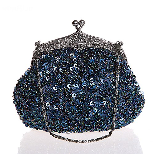 Flada Girls And Womens Handbags Hand Bag Handmade In Rilievo Da Sera Frizioni Prom Wedding Party Verde Blu Navy