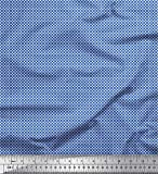 Soimoi Blau Seide Stoff Blumen- klein Stoff Meterware 42