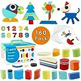 Tangram de Madera swonuk 160 Piezas Rompecabezas de Madera + 60 PCS Diseño Tarjetas de Apilamientos Niños Montessori Juguetes