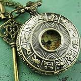 Steampunk Pocket watch Necklace pirate Gothic Victorian pendant charm Constellation Map Vintage Key Binocle SET