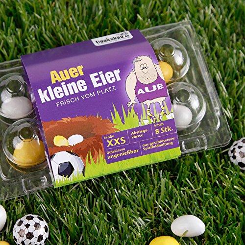 KLEINE Aue Eier - gemein leckere Schokoeier frisch vom Platz | Leipzig, Dresden & Fußball-Fans aufgepasst, leckere Gemeinheit zum Ärgern von Erzgebirge Aue-Fans| Süßigkeiten Schokonüsse Pastillen Drag