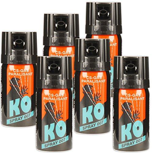 KO Spray 007 CS-GAS PARALISANT 6x im Set zur Selbstverteidigung 40ml BKA zugelassen Verteidigungsspray
