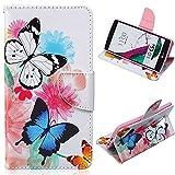 EMAXELERS LG G4 Case Blumen Niedlich Blau Weiß Schmetterling Muster PU Leder Handy SchutzHülle Hüllen mit Standfunktion Kunstleder für LG G4,Blue White Butterflies