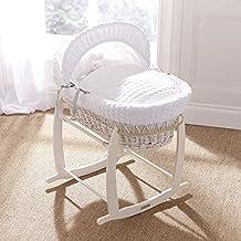 Lujo británico hizo cesta de mimbre blanca de moses con malvavisco blanco grueso / cubiertas de burbuja / vestirse. Soporte mecedora incluido