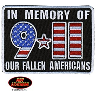 Hot Leathers, IN MEMORY OF 911 OUR FALLEN AMERICANS, Iron-On / Saw-On, Heat Sealed Backing Rayon 9-11 PATCH - 4 x 3 by Officially Licensed Original Hot Leathers Inc. USA