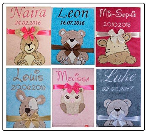 ★ Babydecke mit Namen und Datum bestickt ★ Baby Geschenke ★ Geburt ★ Taufe ★