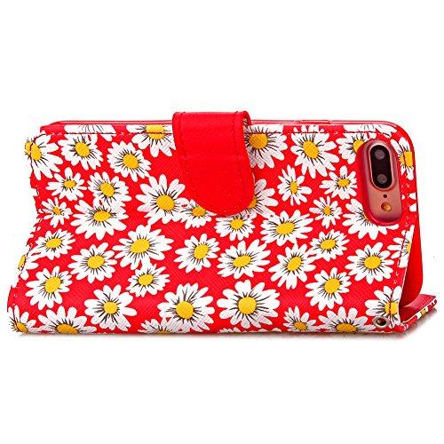 KM-WEN® Schutzhülle für Apple iPhone 7 Plus (5,5 Zoll) Bookstyle Holz Muster PU Leder Wallet Case Flip Cover Hülle Tasche Schutzhülle mit Standfunktion Kartenfächer für Apple iPhone 7 Plus (5,5 Zoll) Chrysantheme Rot