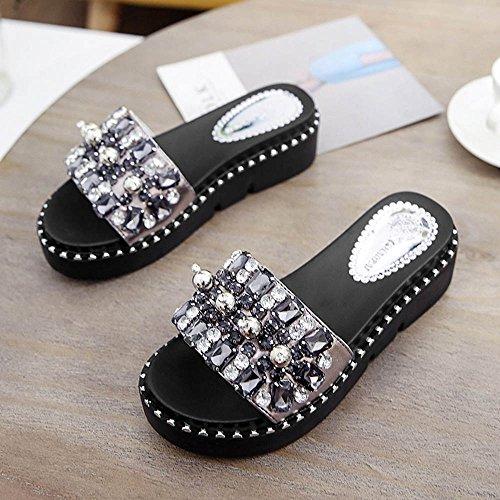 LVZAIXI Womens Mesdames plates sliders glisser sur diamante mule sandales scintillantes flip flops pantoufles taille