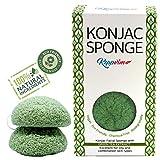 Spugna viso Konjac con estratto di t verde - per la secca e sensibile - naturale, vegana sostenibile e biodegradabile - (pacco da 2) - Keppvim