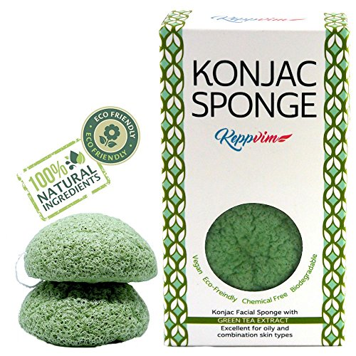 Esponja Konjac Limpiador Facial Orgánico - con Té Verde - 2 Piezas - Pieles Sensibles - desde Keppvim