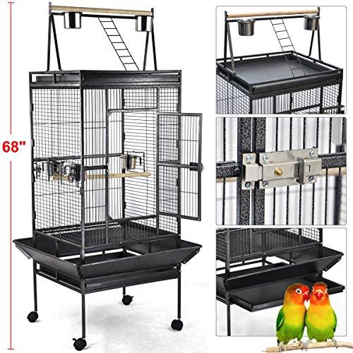Yahee Vogelvoliere Vogelkäfig Vogelbauer mit 4 Rollen,5 Schüssel und 2 Holzsitzstangen, 79 x 75 x 173cm