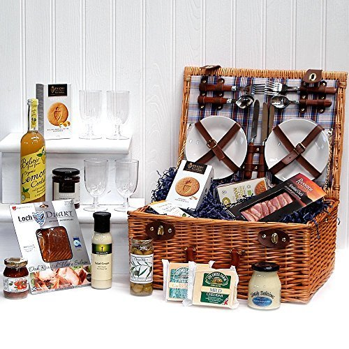 Organic Gourmet Food Selection Hamper Presented in a 4 Person Henley Style Luxury Fitted Picnic Hamper Basket - Gift Ideas for Christmas presents, Birthday, Wedding, Anniversary and Corporate