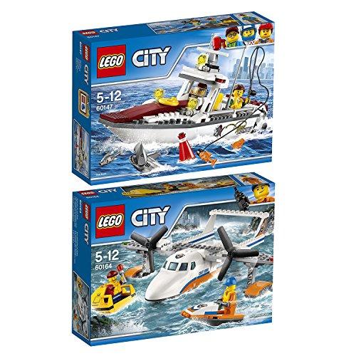 Preisvergleich Produktbild Lego City 2er Set 60147 60164 Angelyacht + Rettungsflugzeug