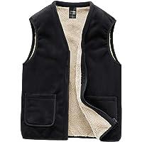Men's Zipper V-Neck Fleece Vest Winter Outdoor Warm Sleeveless Jacket Waistcoat Recreation Sports Vest