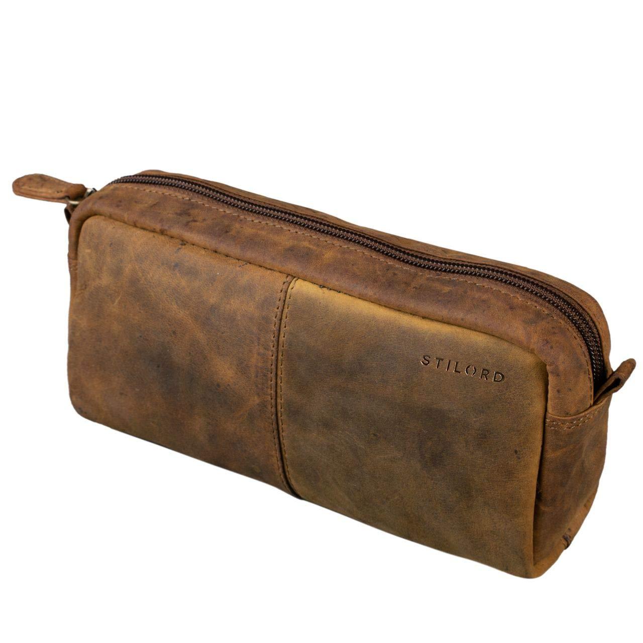 STILORD 'Spencer' Estuche para Lápices Cuero Vintage Bolsa Portatodo para Maquillaje Cartuchera de Genuino Piel, Color:Calais – marrón