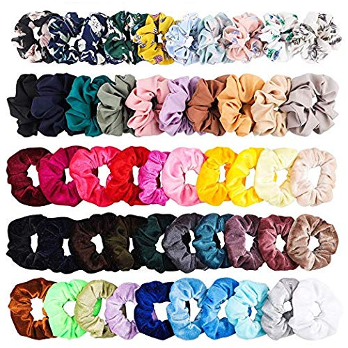 BEYUMI Fashion Hair Scrunchies Hair Ties Ponytail Holder, 50pcs Scrunchies Including 30pcs Velvet,10pcs Solid Color,10pcs Chiffon Floral Printed Hair Accessories for Women - Pink Velvet Floral