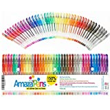 AmazaPens Gel Colouring Pens - 40 Pack Super Glitter | 150% More Ink