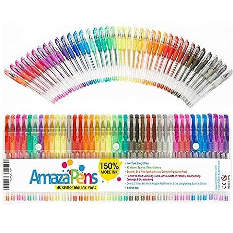 AmazaPens Gel-Malstifte–40Stück, Superglitter | 150% mehr Tinte als andere Sets | ideal für Malbücher für Erwachsene und Kunst-Projekte