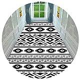 HAIPENG-alfombras pasillo Largo Corredor Pila Baja Entrada Alfombras Piso con Antideslizante Soporte Blanco Negro (Color : A, Tamaño : 1.6x1m)