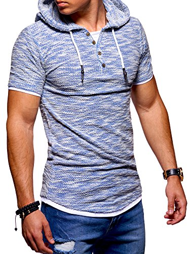 Ombre-Eight Herren Oversize T-Shirt Hooded Henley O-215 [Blau, L]