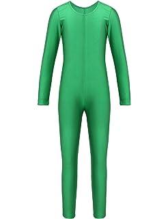 inhzoy Fille Léotard Unitard Danse Bodysuit Dancewear Catsuit Sport  Justaucorps Danse Ballet Gymnastique Combinaison à Manche 8f5518609ee