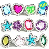 THE TWIDDLERS 100Pcs Little Girls Rings | Kids Fancy Crystal Fashion Accessory | Jewelry Sets for Kids | Birthday Party Favour Toys | Princess Dress Up Parties Supplies | Gems Ring for Children