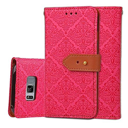 YHUISEN Galaxy S8 Case, Magnetverschluss European Style Wandgemälde prägeartig PU Leder Flip Wallet Case mit Stand und Card Slot für Samsung Galaxy S8 ( Color : Rose Gold ) Rose