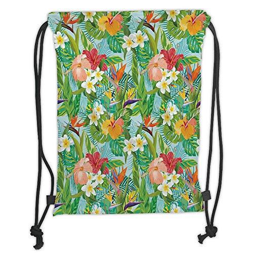 LULUZXOA Gym Bag Printed Drawstring Sack Backpacks Bags,Leaf,Vintage Cartoon Style Image of Hawaiian Flowers Crepe Gingers Decorative,Blue Light Green Orange and Pink Soft Satinri -