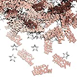 iZoeL Confettis Rose Gold Happy Birthday 240pcs + Argent étoile 350pcs Décoration de Table.