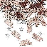 iZoeL Confettis Rose Gold Happy Birthday 240pcs + Argent étoile 350pcs Décoration de Table.