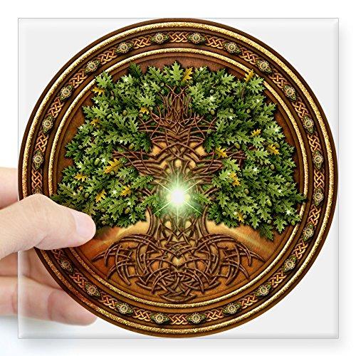 Home Eiche Design Ein (CafePress Sacred Keltisches Bäume-Eiche quadratisch Aufkleber 3x 3, farblos, 3 x 3)