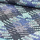 Kunstleder Lederimitat in Flechtopik blau - Meterware - Stoff zum nähen
