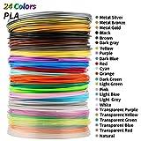 MKOEM Filamento de pluma 3D, Materiales de impresión 3D de filamento PLA 24 Colores 1,75MM 3M...
