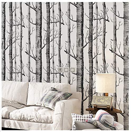 Tapete by COUTUDI, Natur Birke Baum - Wald Holz Vliestapete Wandbilder, PVC frei Fine Decor, 0.53m...
