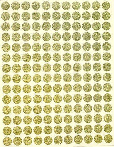"""Traje de codificación de Color etiquetas 3/8""""redondo 10mm–Pegatinas brillantes–(8), con purpurina lunares etiqueta–tres ochos, rondas adhesivo"""