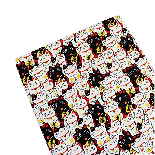 anese Style DIY Stoff Tuch Material Lucky Cat Muster Gelb (Black Cat Kostüme Diy)
