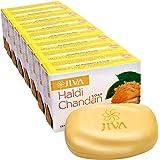 Jiva Ayurveda Haldi Chandan Bathing Soap for Beautiful Skin - Natural Haldi Chandan Soap - Pack of 8