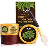 WOW Skin Science Anti-Acne Neem & Tea Tree Clay Face Mask for Refreshing & Refining Acne Prone Skin - For All Skin Types - No