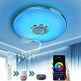Wayrank Plafonnier Led avec Haut-parleur Wifi, RGB Eclairage de Plafond avec Télécommande et Contrôle APP, Compatible avec Al
