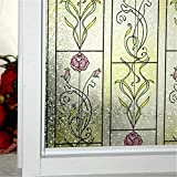 OstepDecor - película decorativa para ventana, roja y rosa, de adherencia estática , vinilo, multicolor, 90cm x 200cm