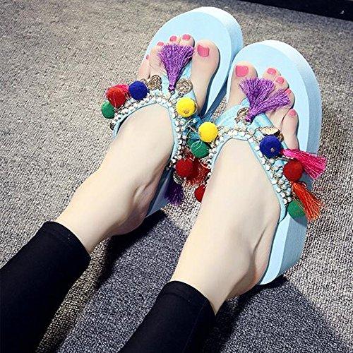 Estate Sandali Sandali pesanti nazionali bassi handmade dei pistoni femminili di modo di estate di 5.5cm (nero / beige / azzurro / dentellare / bianco) Colore / formato facoltativo Blu