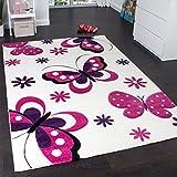 Tappeto Bambina Per Stanza Bambini Con Motivo Farfalla Fiori Crema Rosa Fuchsia , Dimensione:80x150 cm