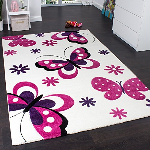 Kids' Rug - Butterfly Design - Children's Rug - Creme Pink Purple, Size:120x170 cm