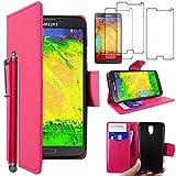 ebestStar - Compatible Coque Samsung Galaxy Note 3 Lite SM-N7505 Etui PU Cuir Housse Portefeuille Porte-Cartes Support Stand + Stylet + 3 Films d'écran, Rose [Appareil: 148.4 x 77.4 x 8.6mm 5.5'']
