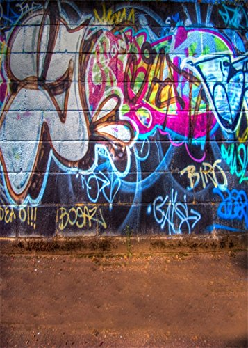 YongFoto 1,5x2,2m Vinyl Foto Hintergrund Graffiti Mauer Städtisch Straße Abstrakt Kunst Gemälde Fotografie Hintergrund für Fotoshooting Portraitfotos Fotografen Kinder Fotostudio Requisiten