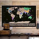 Homein Weltkarte Zum Rubbeln Scratch Off World Map Reisen Poster Geschenke Landkarte mit Fahnen Travel Karte Zum Freirubbeln auf Englisch Schwarz Gold 87 x 54 cm
