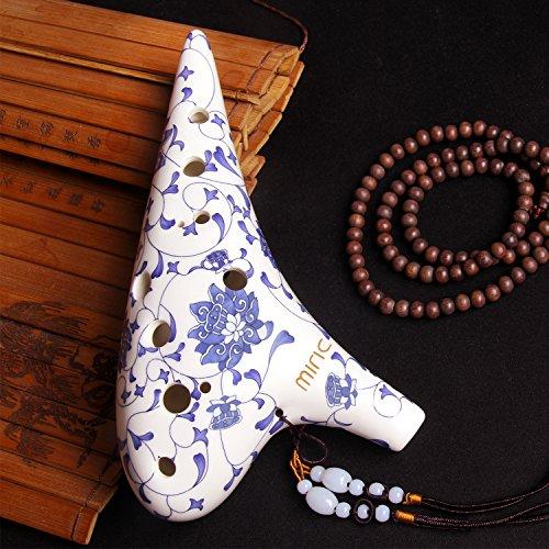 Miric Ocarina 12 Loch Alto C Blau Lotus Blumenmuster Glasur Oberfläche Profi Level Ocarina Mit Chinesischen Jade Neck Strap Cord, Schutztasche, Musik Score